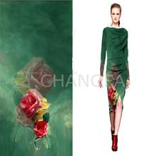 Ladies' Fashion Digital Print Silk Fabric Long Dress China Supplier