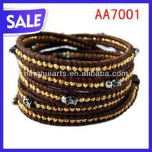 2012 Handmade Leather Beaded Skull Wrap Bracelet