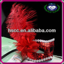 Wholesale Red Color Sequined Side Flower Ostrich Feather Mask for Party