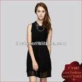 成熟した女性の黒ドレスエレガントなシフォンスカートカジュアルドレス