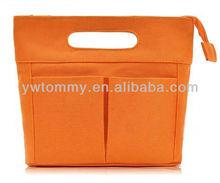 2013 High Quality Orange Fashion Lady Handbag With Front Pockets