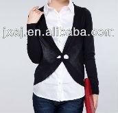 Collar belt character long knit sweater