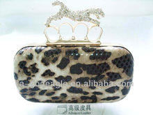 Wholesale wine purse new style leopard ring key hardcase metal frame clutch evening bag factory direct G20462