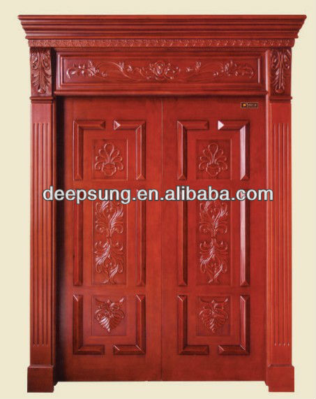 Hand-carved classic style solid wood timber interior door for Decoration