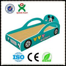 Durable kids cartoon bed for preschool/kindergarten wooden bed furniture/kids race car bed QX-B6703