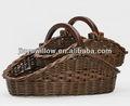 2 piezas conjunto natural al por mayor cestas de mimbre para el almacenamiento