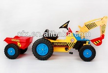 kids Pedal Excavator Ride on Toy vehicle educational type toy quad bike with trailer bucket