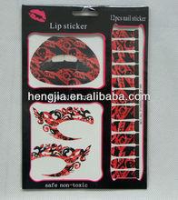 2014 hot! beauty temporary decal eye&lip&nail tattoo sticker set