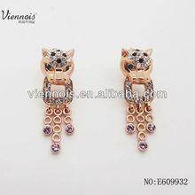 Fashion Jewelry 2015 leopard diamond earrings designs