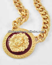 2013 lady's most fashion lion costume necklace 14k gold basic chain costume jewelry punk style oil painting