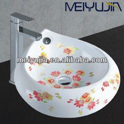 Meiyujia artticle ceramic bathroom vanity with flower