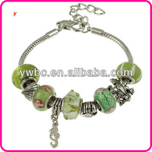 2013 Fashion Wholesale Glass Silver Green Glass Bead and Charm Bracelet
