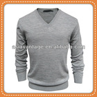 Mens Merino Wool Long Sleeve V Neck Pullover Sweater