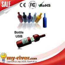 Custom logo myriver usb flash drive bottle of red wine usb pen drive