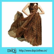 Maxi Sexy Long Chiffon Sundress Leopard Print Backless Women Evening Dress