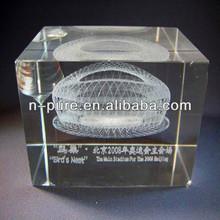Nest 3D Laser Engraved Crystal Glass Cube