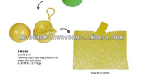 yellow promotional plastic ball raincoat/rain poncho