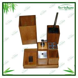 8pcs bamboo bath vanity set