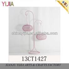 Antique Home & Garden Decoration Art Earring Holder Pink Basket Display Metal Cage