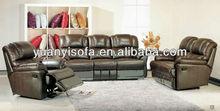 YR1528 top grain leather 1-2-3 reclining sofa set, recliner sofa set