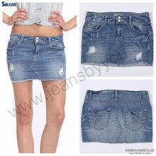 Salcar sex thing high women's ripped mini denim skirt (LSASF6042-1)