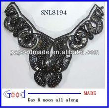 vintage plastic beads&fabric embroidery necktrim applique