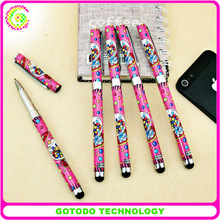 glitter colorful touch stylus pen with ball pen and touch tip