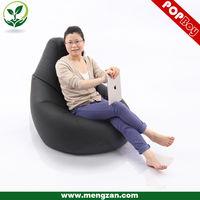 black faux leather bean bag recliner , modern design bean bag chair