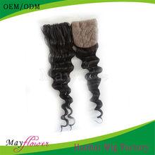 wholesale price deep wave silk base closure scalp color accept paypal