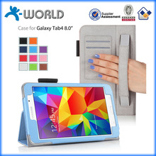 10 colors excellent leather case for samsung tab 4 8 inch with card slot