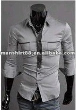 New design Slim fit 100%Cotton Grey Men business shirt with S,ML,XL,XXL