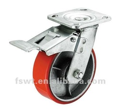 Heavy Duty Swivel Hardware Machinery Polyurethane Iron Core Double Brake Best Caster Boards