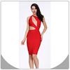 New fashion red hollow out bandage dress women sexy night club dress