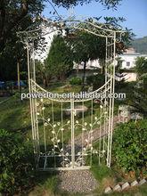 Beautiful decorative lightweight outdoor white metal arbor trellis with gate