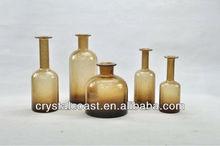 wholesale cheap tall long stem amber egypt glass bottle bubble vase;antique brown glass vase;tall glass stemmed vase