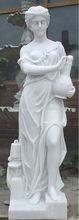 Pretty white marble girl statues