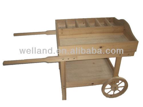 De madera maceta de madera carros jard n carretilla for Carros de madera para jardin