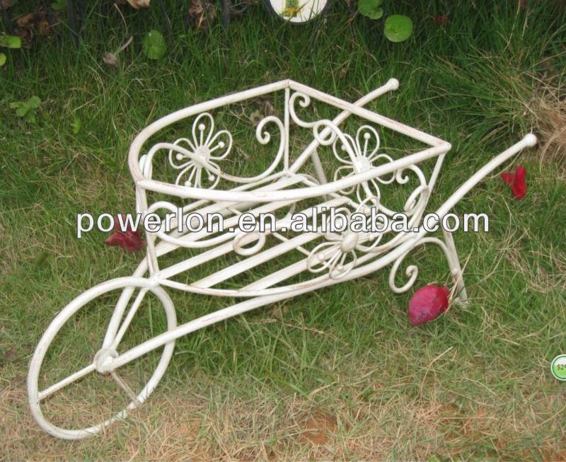 Floral dise o blanco exterior carretilla puesto de flores for Carretillas para jardin
