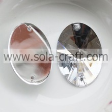 Cheapest Price 21*30mm Transparent Silver Plastic Acrylic Element Oval Garland Mirror Crystal Bead Charm for Sale