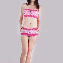 Sex full lace Wholesale girls underwear boxer short plum red