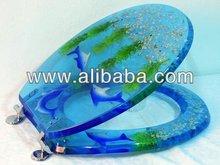 polyresin Toilet Seat Cover, Transparent toilet seat cover, acrylic toilet seat cover, sealife design,dolphin design