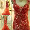 ME001 China Supplier Sexy Shoulders Open Back Mermaid Beads Crystal Dress Design Real Sample Evening Dresses Designer 2013