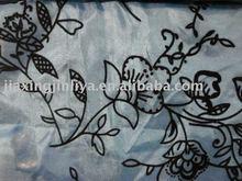 Flocking Organza fabric 2012 design curtain fabric