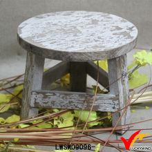 round white wash 3 leg handmade reclaimed vintage small wooden stool