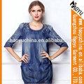 Haoyu kadın denim mavi jean elbise örme denim kumaş bayanlar tasarımcı kot elbiseler( hys2001)