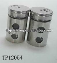 mini cilindro de vidro spice shaker com revestimento metálico