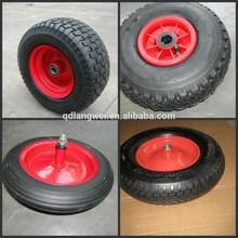 "Rubber wheels direct manufactures for wheelbarrows Pnuematic wheel, solid wheel,PU foam flat free wheel 6""-18"""