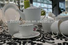 on sale diamond micro platinum silver bone china embossed dinning talbe set