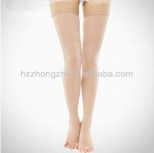 Compression thigh high open toe nylon socks