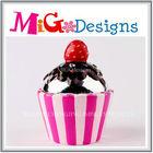 custom design OEM ceramic ceramic paint piggy bank cupcake shaped